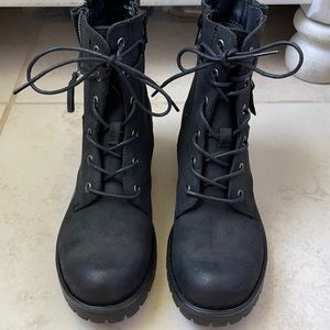 NEW Dunes Kobe lace up heel moto combat boots